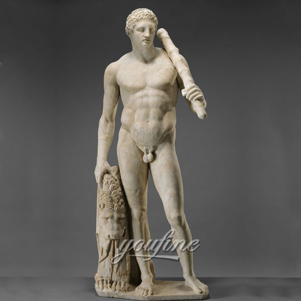 Famous art sculptures in roman life size marble Statue of Hercules for sale