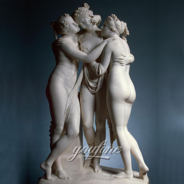 Famous art sculptures life size marble the three graces garden ornaments for sale