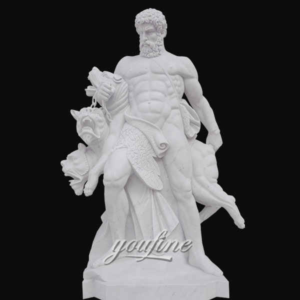 Famous art sculptures life size white marble hercules sculpture for sale