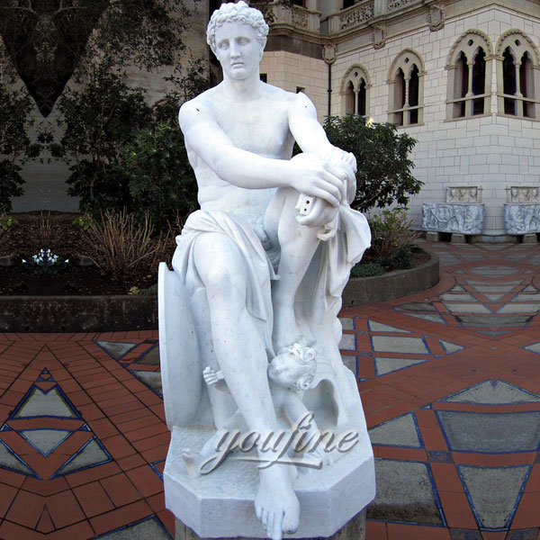 Famous art sculptures of Resting with Cupid (copy of Ludovisi Mars) by Umberto Marcellini located in Hearst Castle