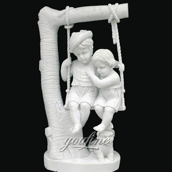 Indoor art decor stone white marble children on swing sculptures for garden decor