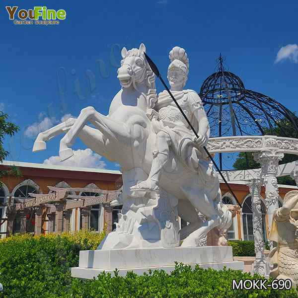 Hand Carved Large White Marble Warrior with Horse Statue for Sale