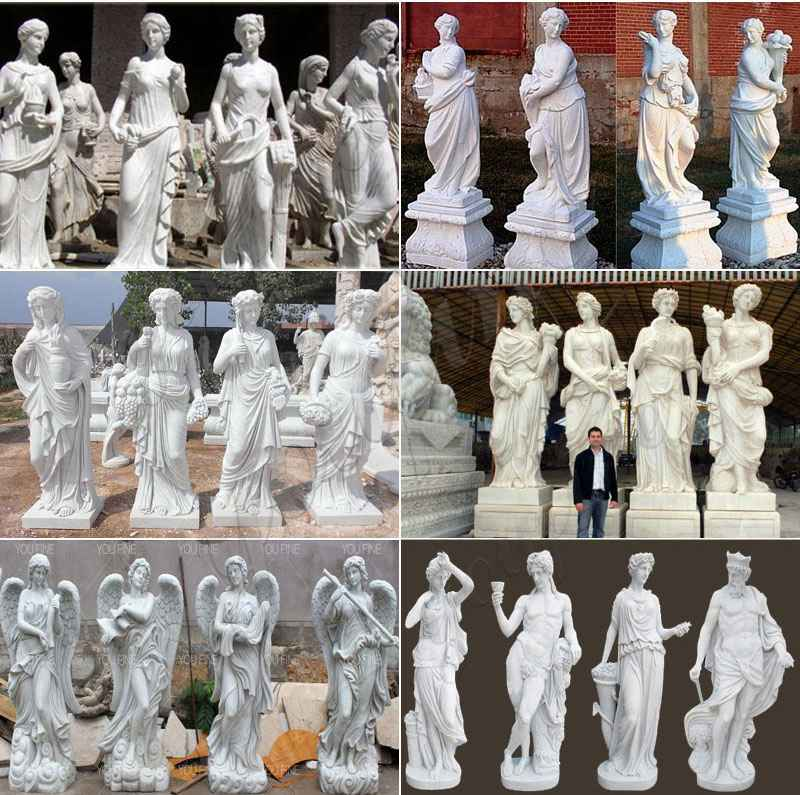 Natural Life Size Four Seasons Marble Statues