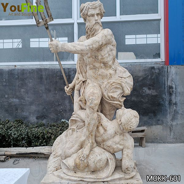 Classic Natural Marble Neptune Calming the Waves Statue for Sale